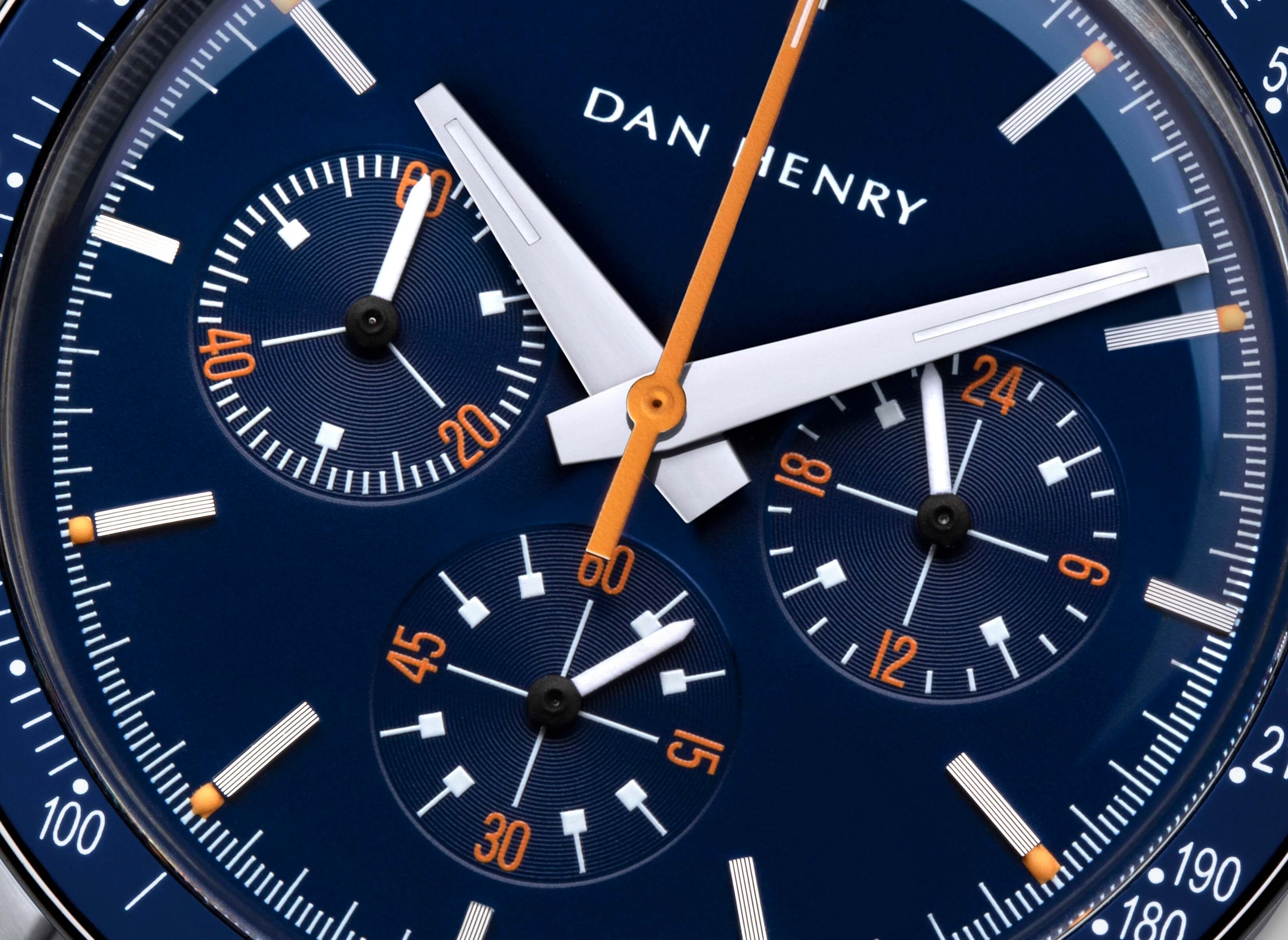 <h3>Dial</h3><p>Matte blue with orange chrono central hand and numbers. Dauphine hands made to the best legibility </p>