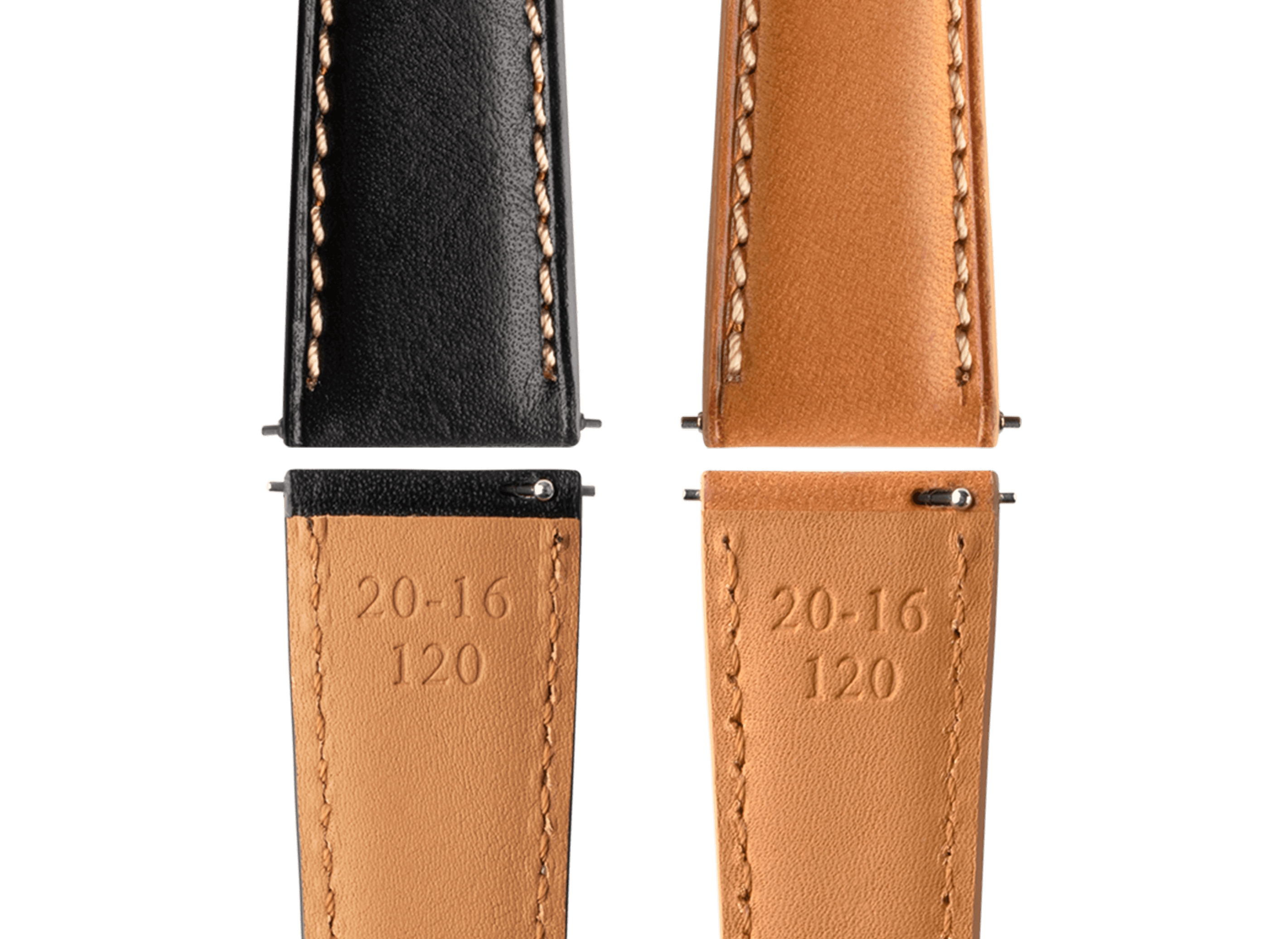 <h3> Straps </h3><p> Two easy release French leather straps. Black with beige stitch and natural leather </p>