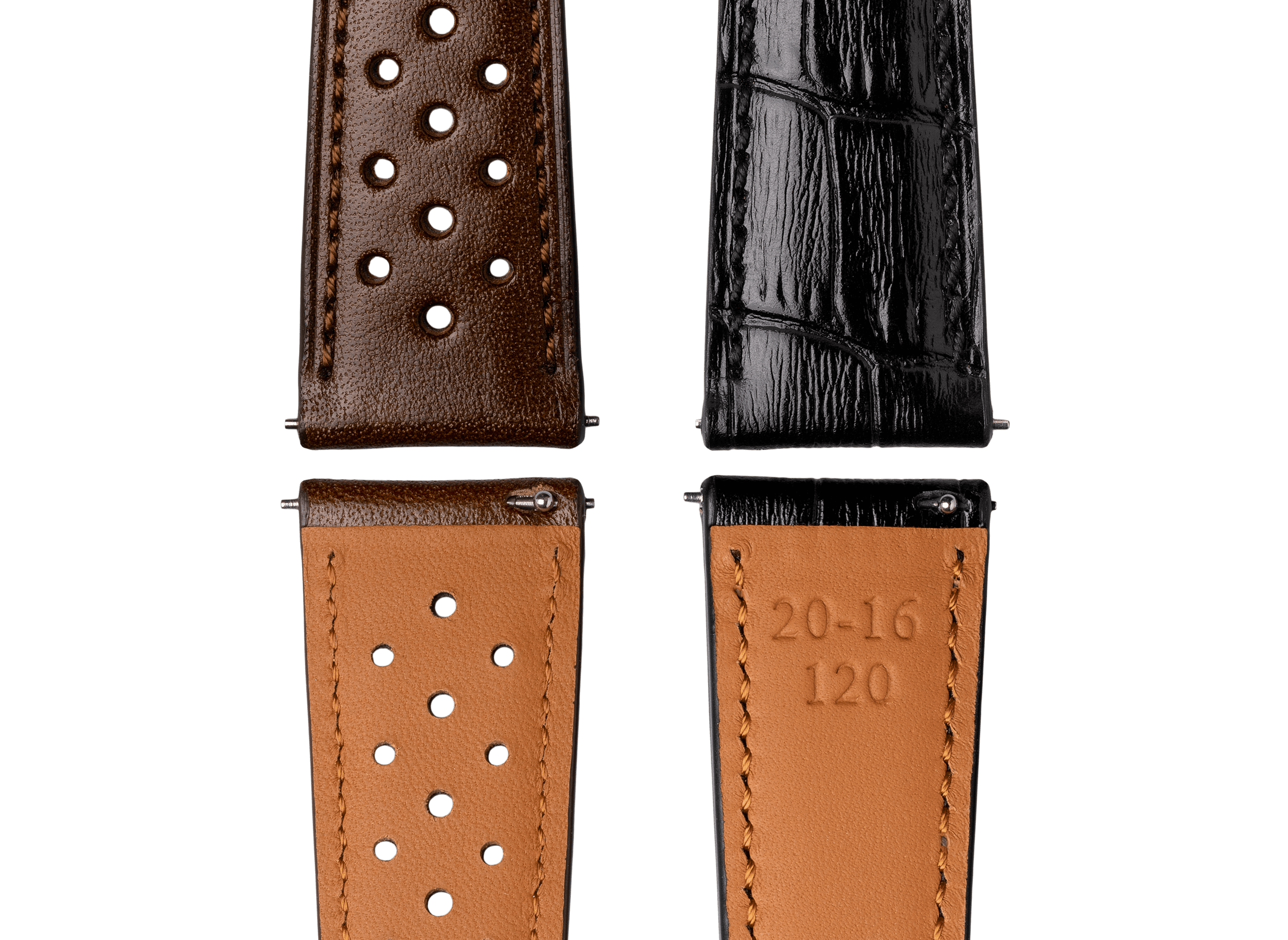 <h3> Straps </h3><p> Two easy release French leather straps. Racing brown and croco black </p>