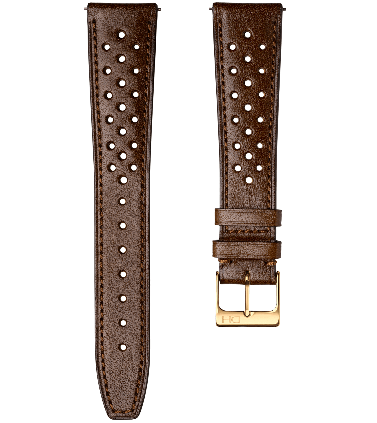 <h3>Leather Strap</h3> Racing brown leather strap with golden buckle<br><span>Easy Release Strap</span>