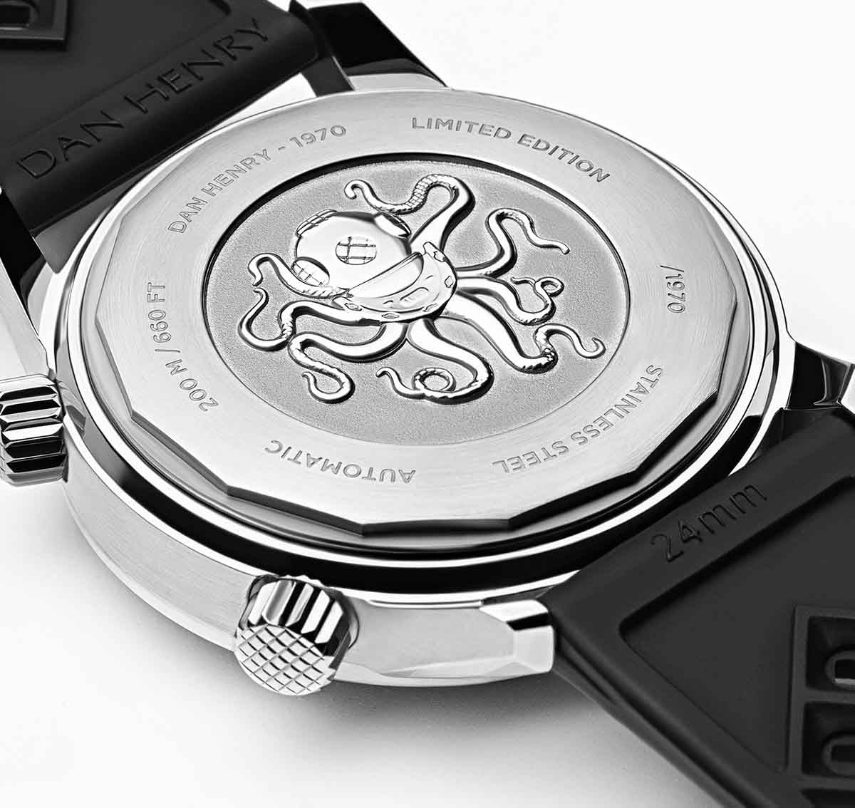 <h3>Caseback </h3>Screw-back case with Scaphtopus 3D medal