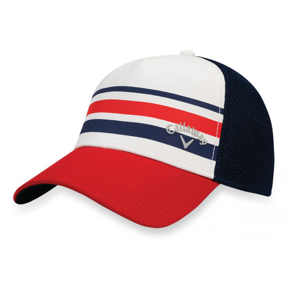 Callaway Golf Mesh Fitted Striped Hat USA Red White Blue Choose Size