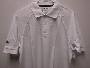 Mens Adidas Climalite Cotton Solid White A108 MCL Pique Golf Shirt Size Medium
