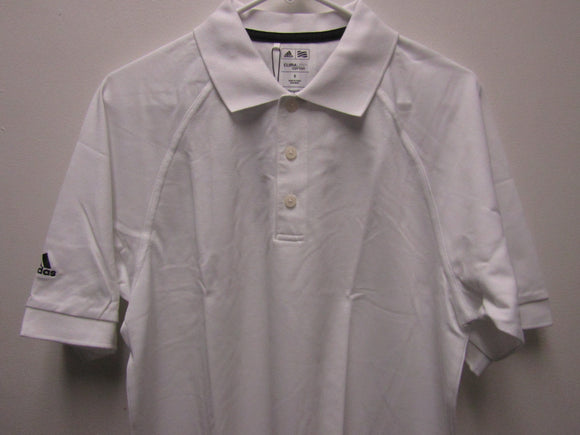 Mens Adidas Climalite Cotton Solid White A108 MCL Pique Golf Shirt Size SMALL