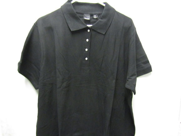 Womens Reebok Solid Black Cotton Polo Size 3XL XXX Pique Ladies