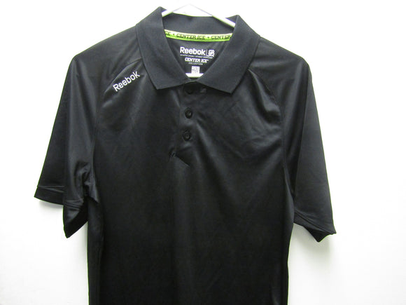 Mens Black Reebok PlayDry Center Ice NHL Polo Authentic Apparel Size Small