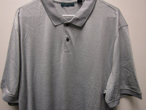 Mens Perry Ellis Portfolio Poly Knit 2 Button Polo Golf Shirt Light Grey 2XL