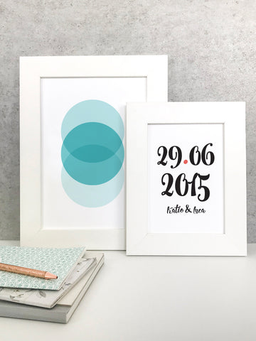 Circles print and special date print in frames - 5 ways to hang your prints without frames by Made by Aiza