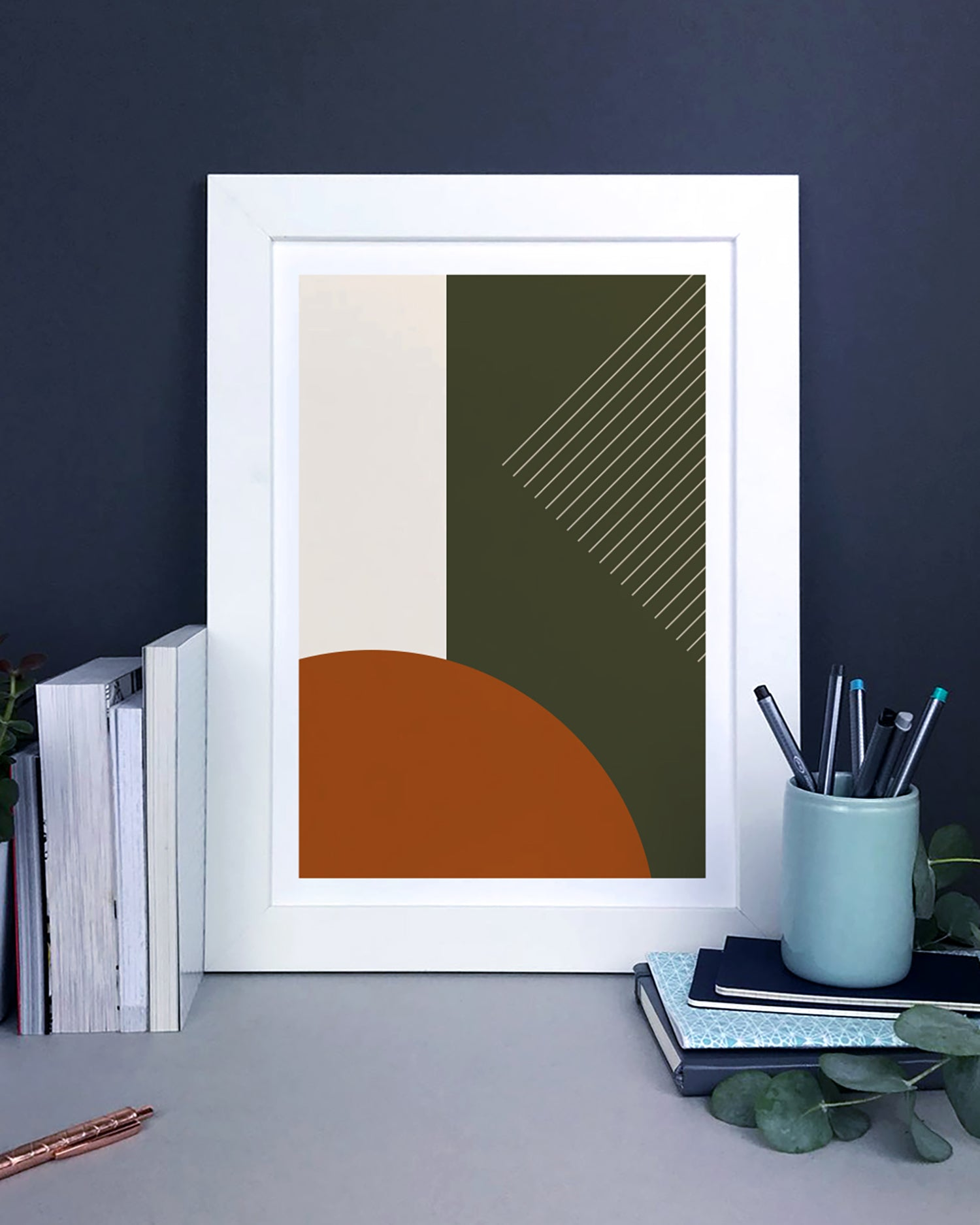 Minimal Abstract Geometric Print In Earth Tones