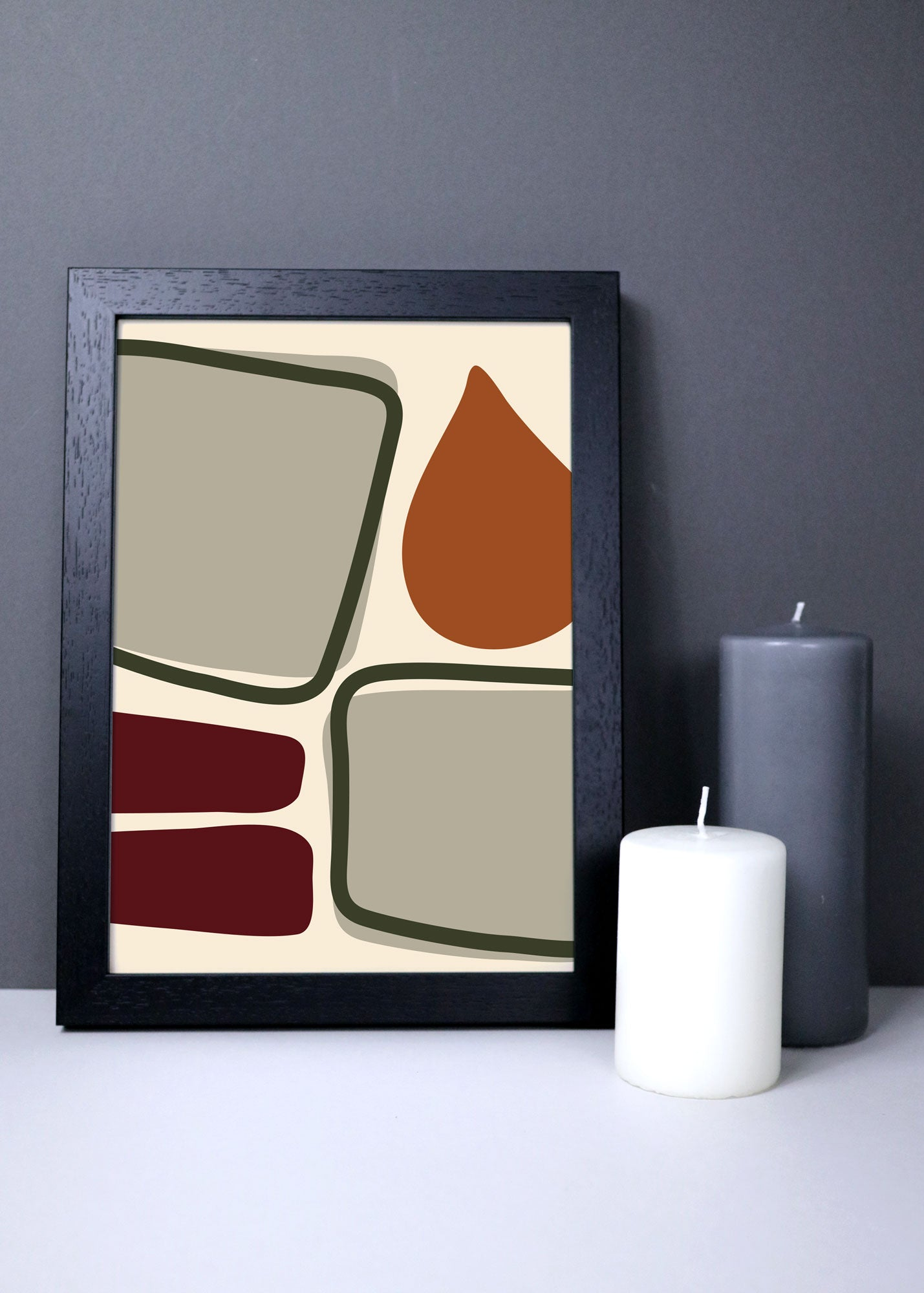 Abstract shapes wall art in warm autumn colours