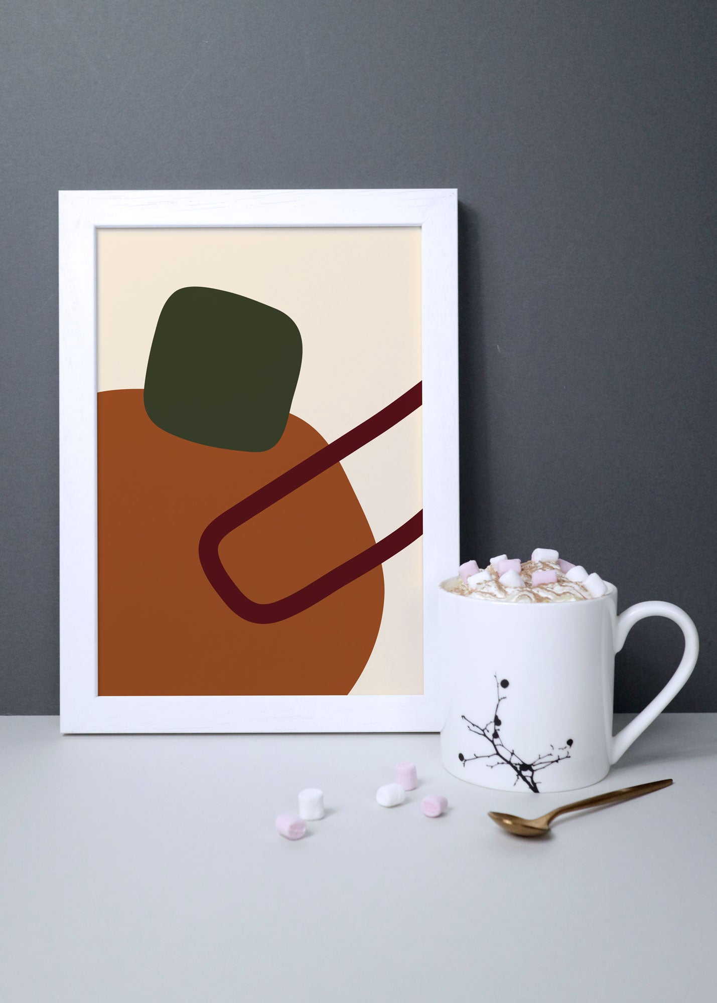 Autumnal geometric print inspired by hot chocolate