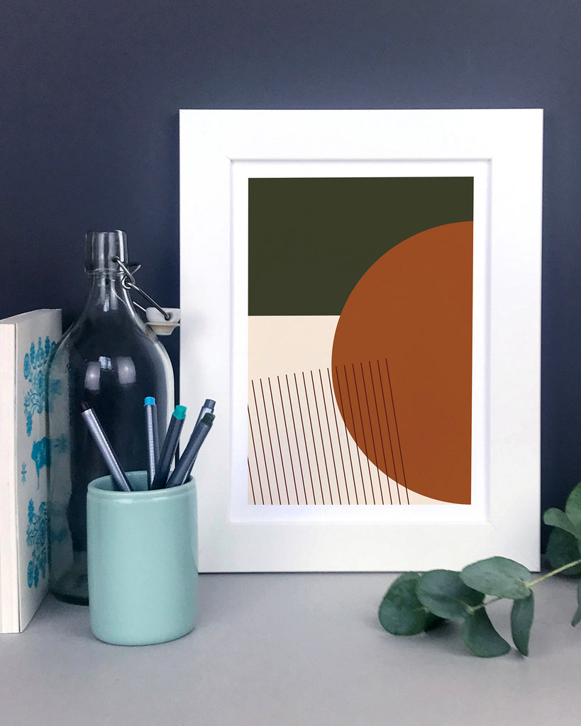 Orange And Green Abstract Shapes Geometric Print