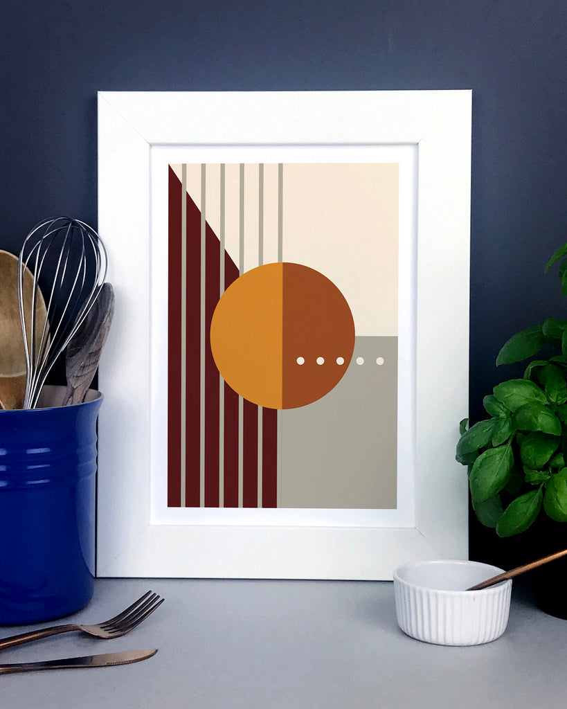 Modern Abstract Shapes Print In Browns And Oranges