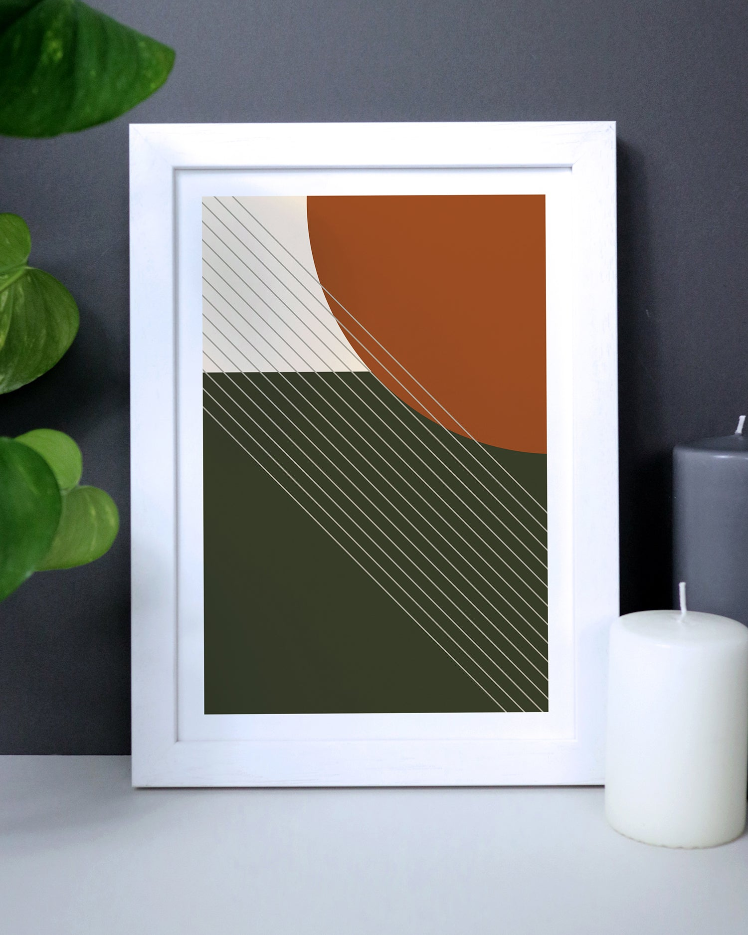 Green And Orange Geometric Shapes Print