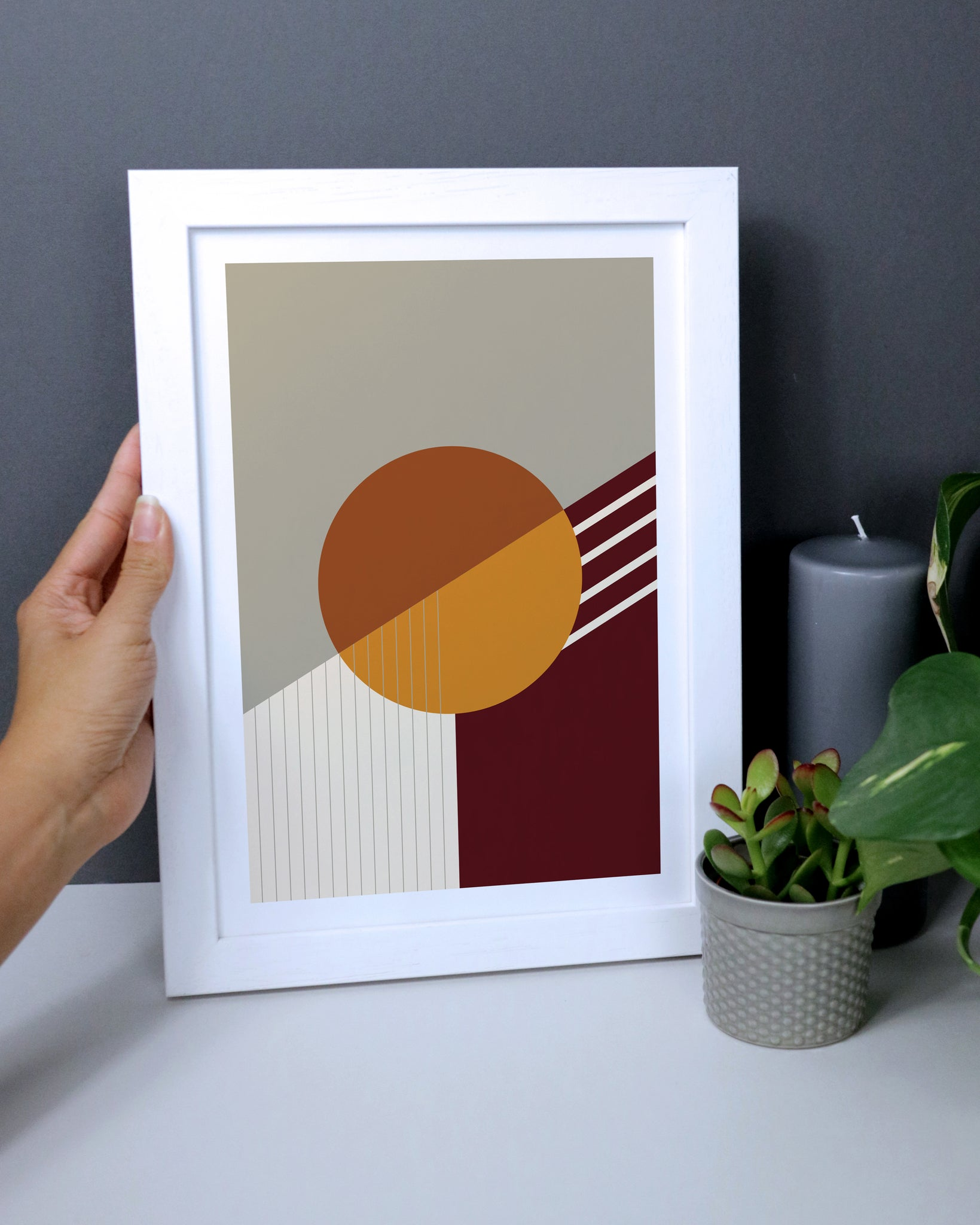 Abstract Geometric Print In Orange Earth Tones