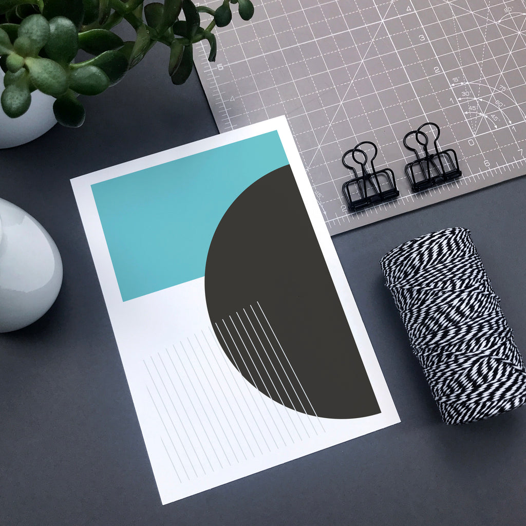 Turquoise and grey geometric wall art