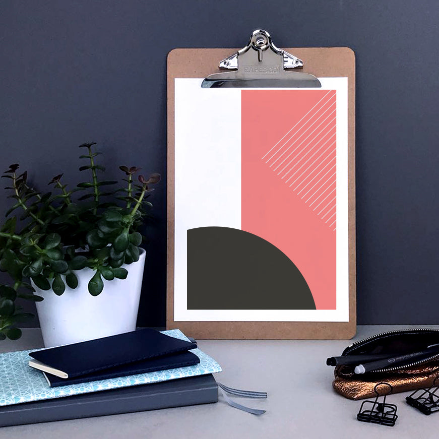 Pink abstract shapes print
