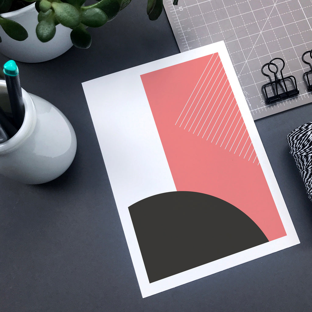 Modern pink and grey abstract print