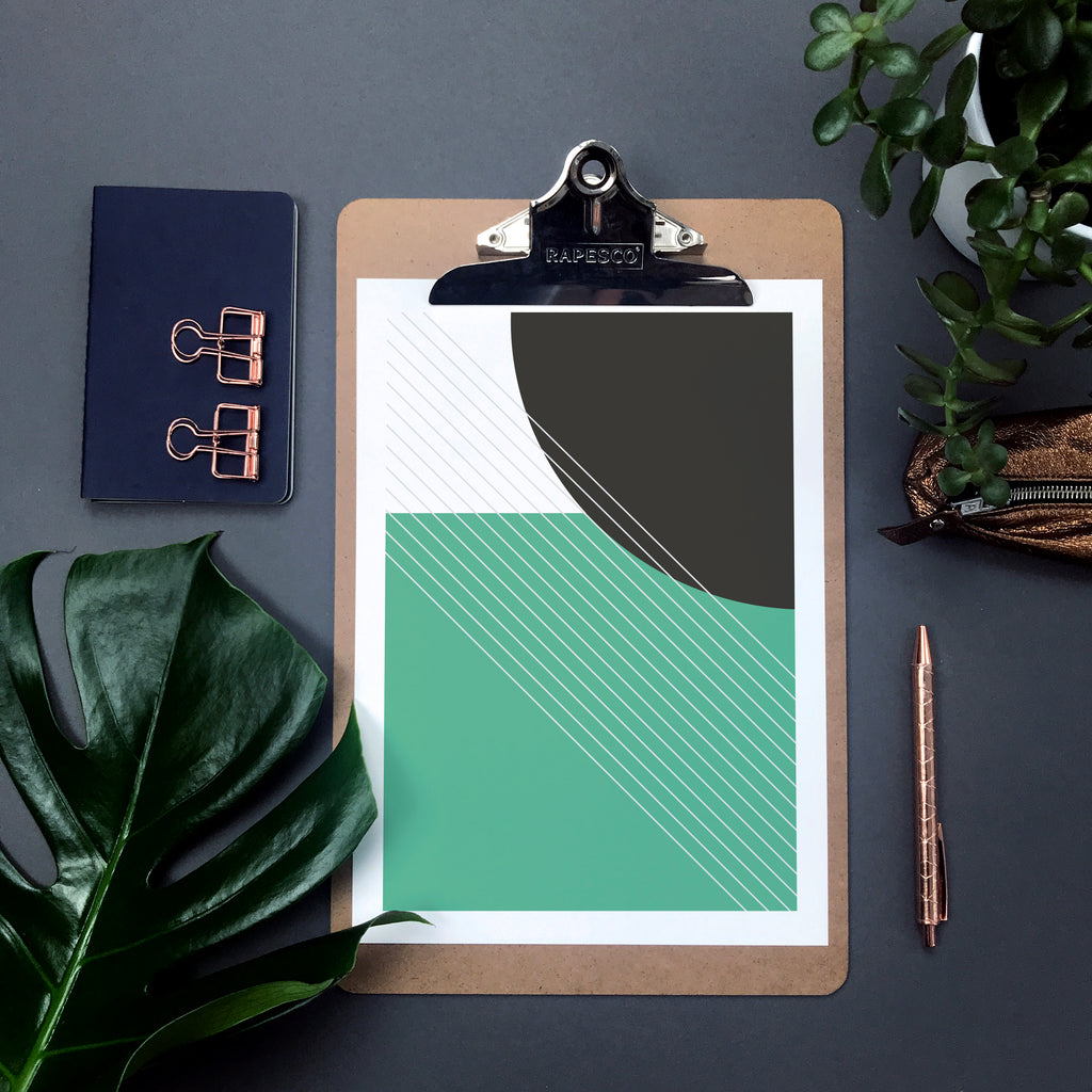 Green and grey minimal abstract wall art