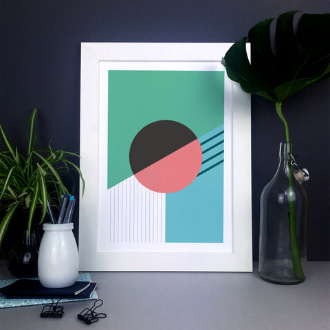 Abstract wall art featuring circles and lines