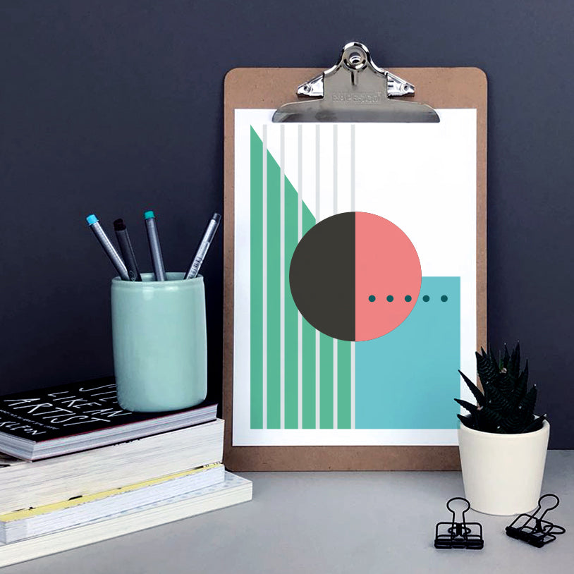 Abstract geometric wall art featuring circles, lines and dots