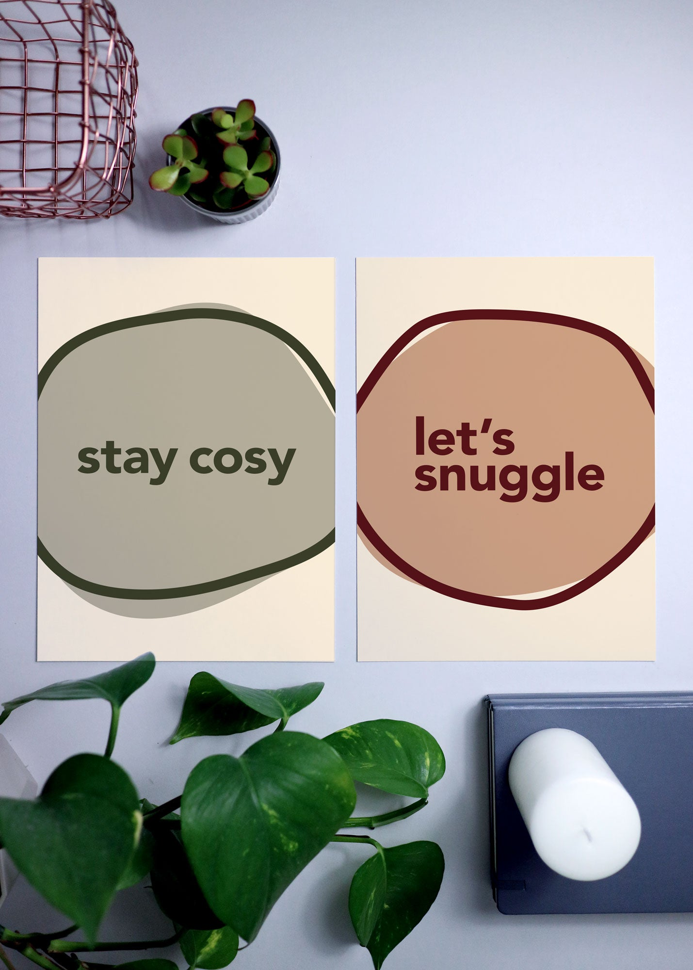 'let's snuggle' cosy quote print