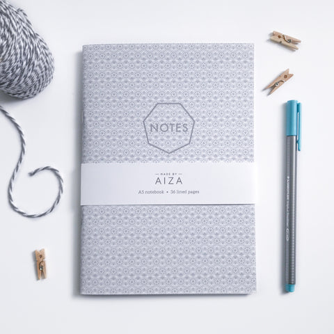 Monochrome Geometric A5 notebook