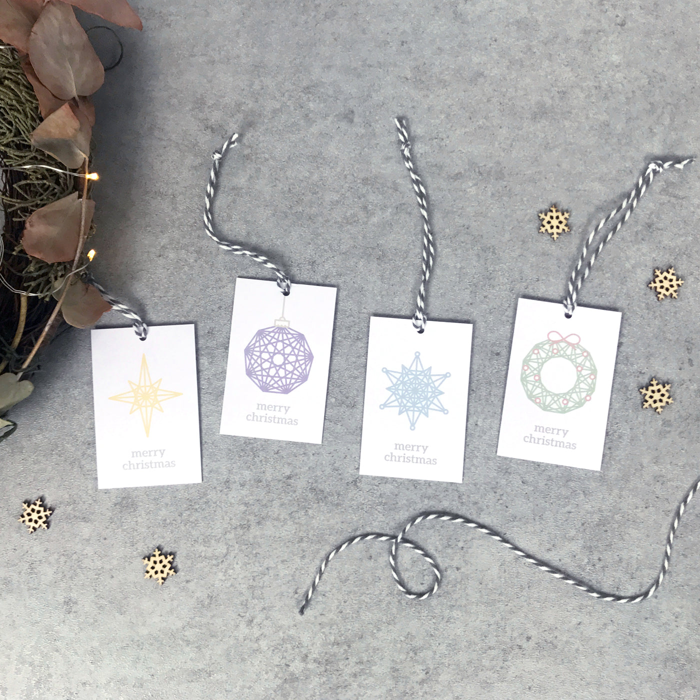 Geometric Christmas gift tags (pack of 8): snowflake, wreath, bauble, star