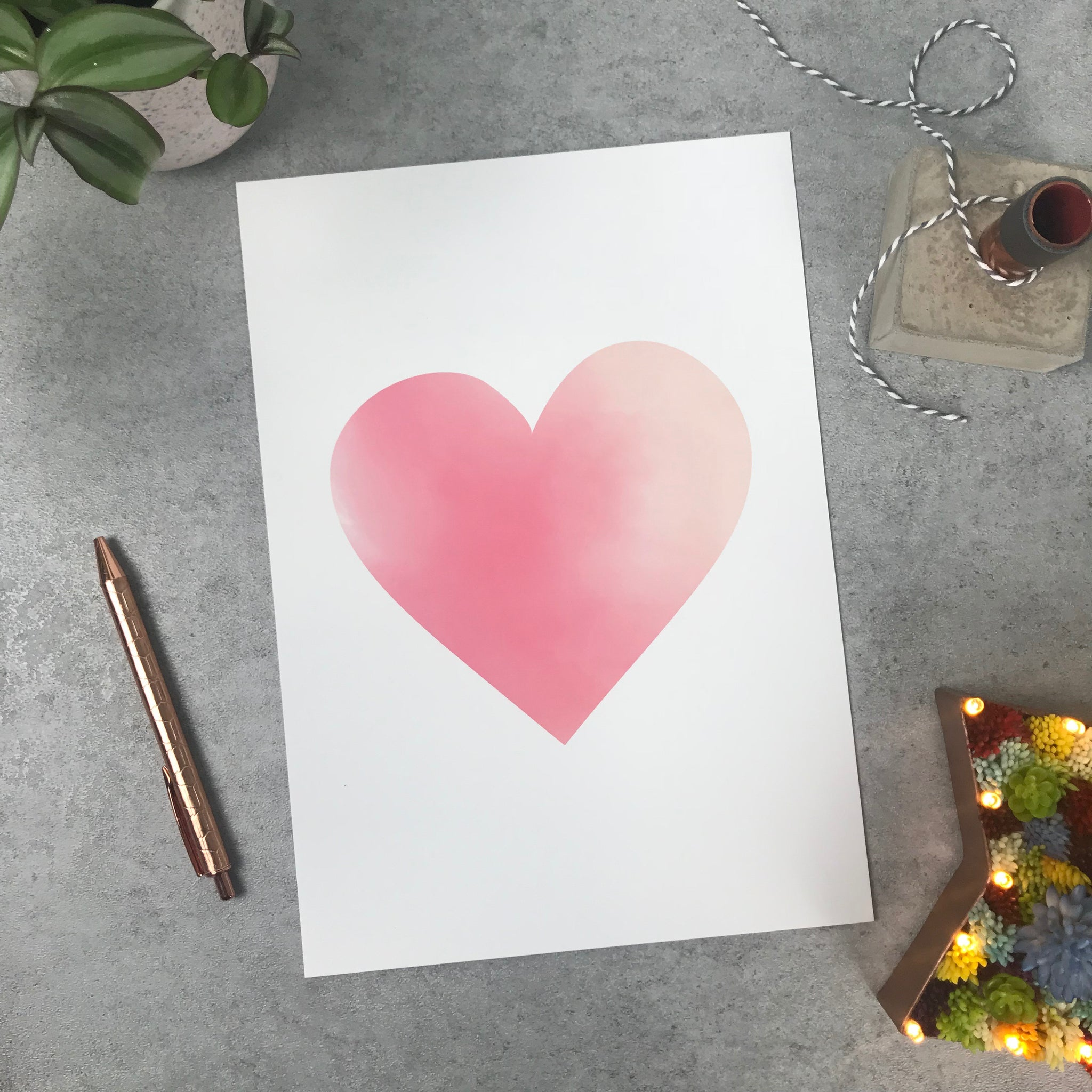 Overstock: Watercolour heart 120gsm A4 print
