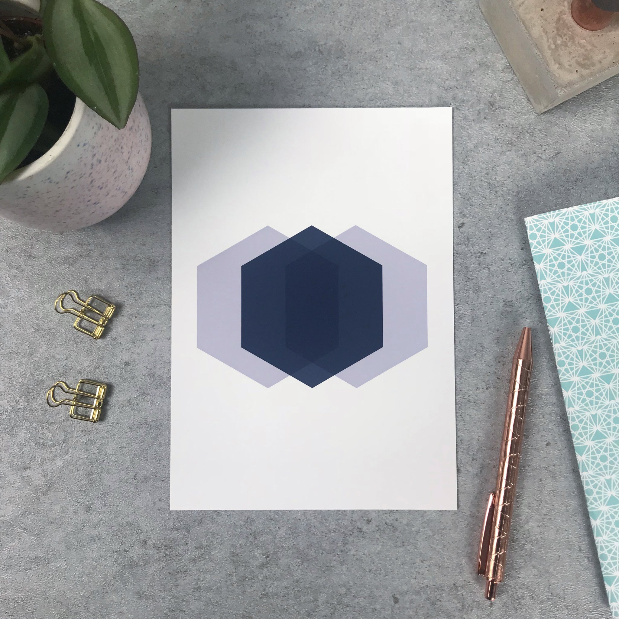 Seconds: Hexagon print 120gsm A5 print