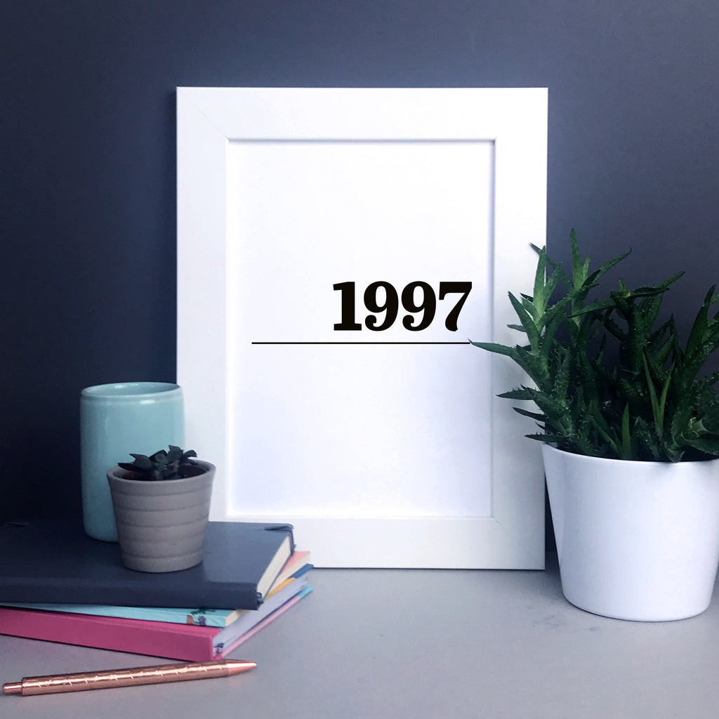 Personalised 'year' typographic wall art in black and white