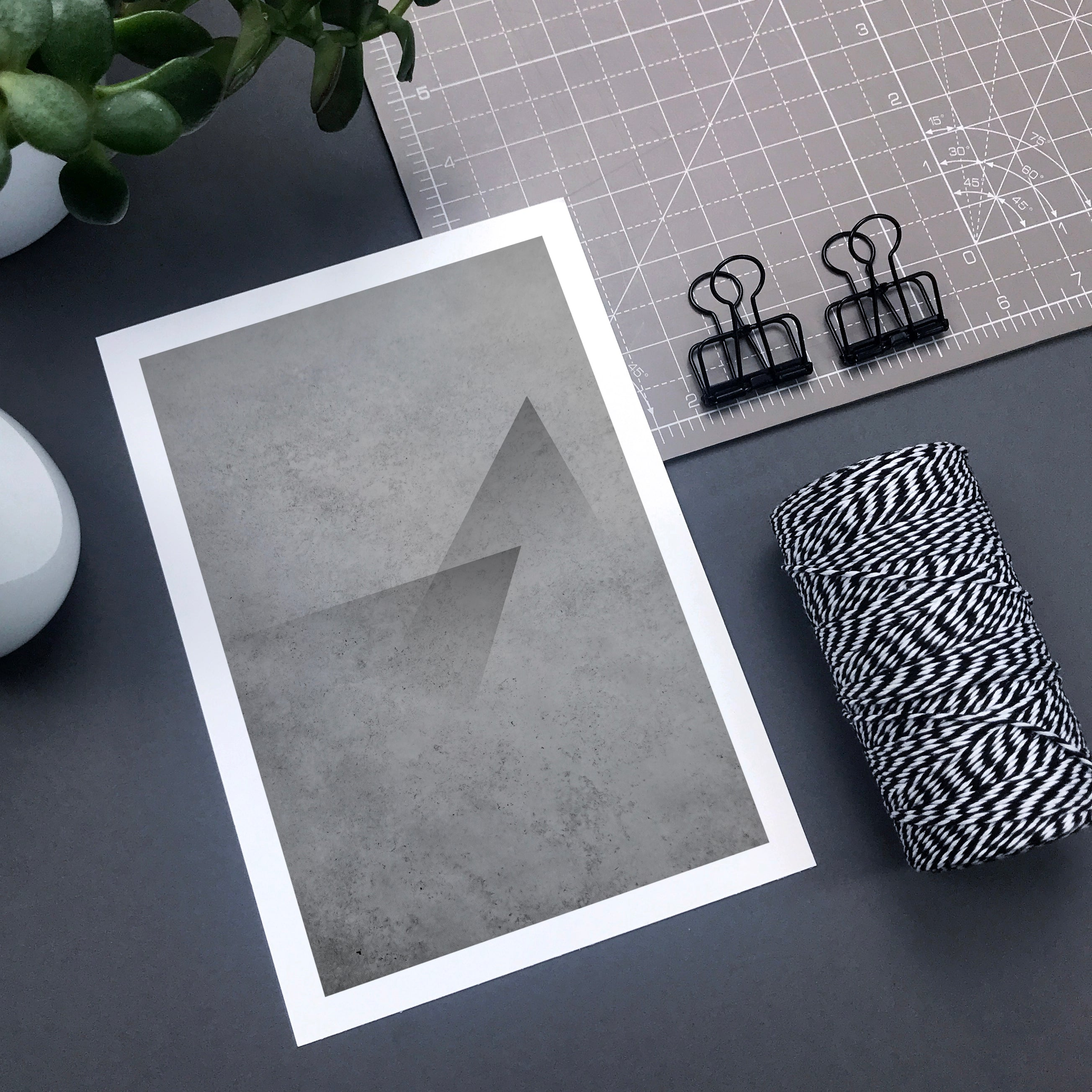Triangle abstract concrete wall art