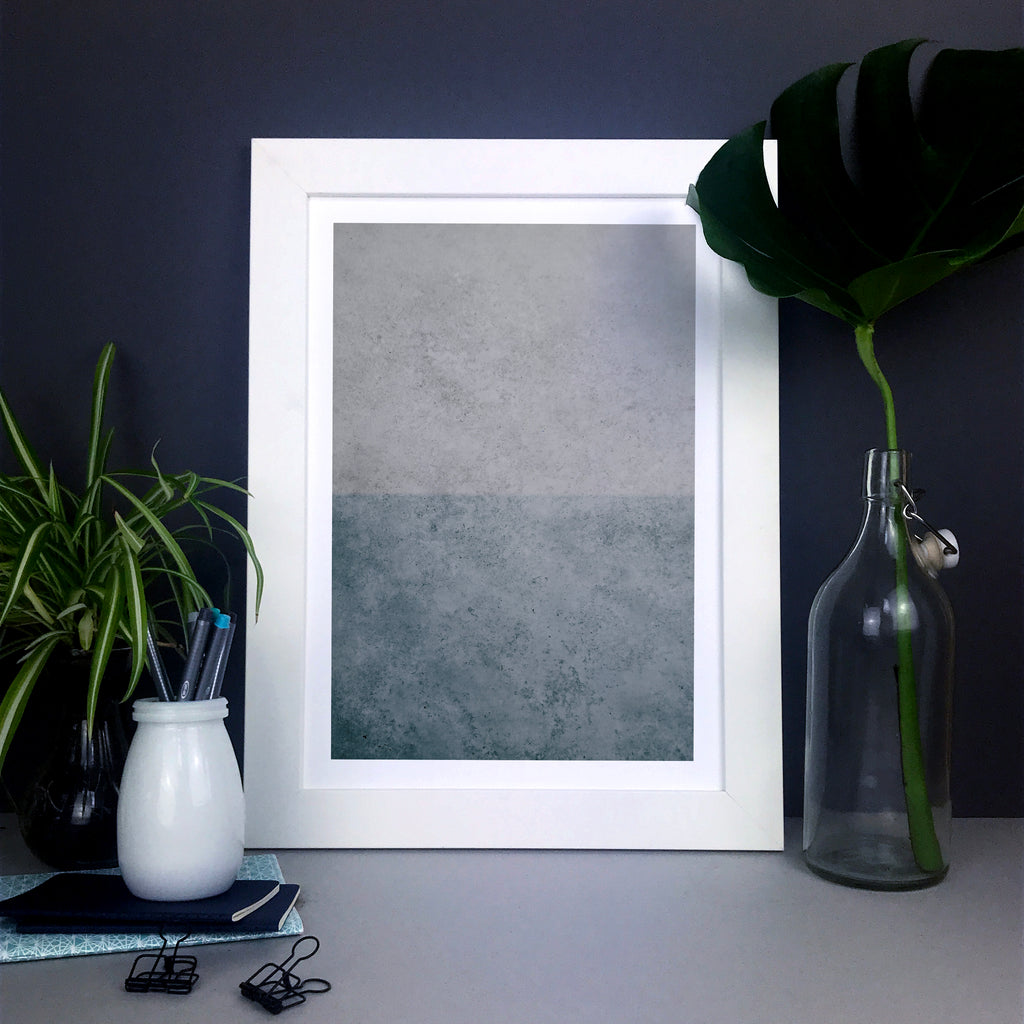 Concrete texture blue and grey abstract wall art