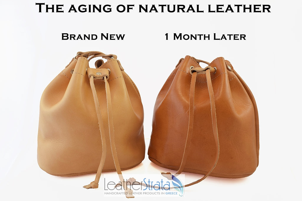 The aging process of natural vegetable tanned leather