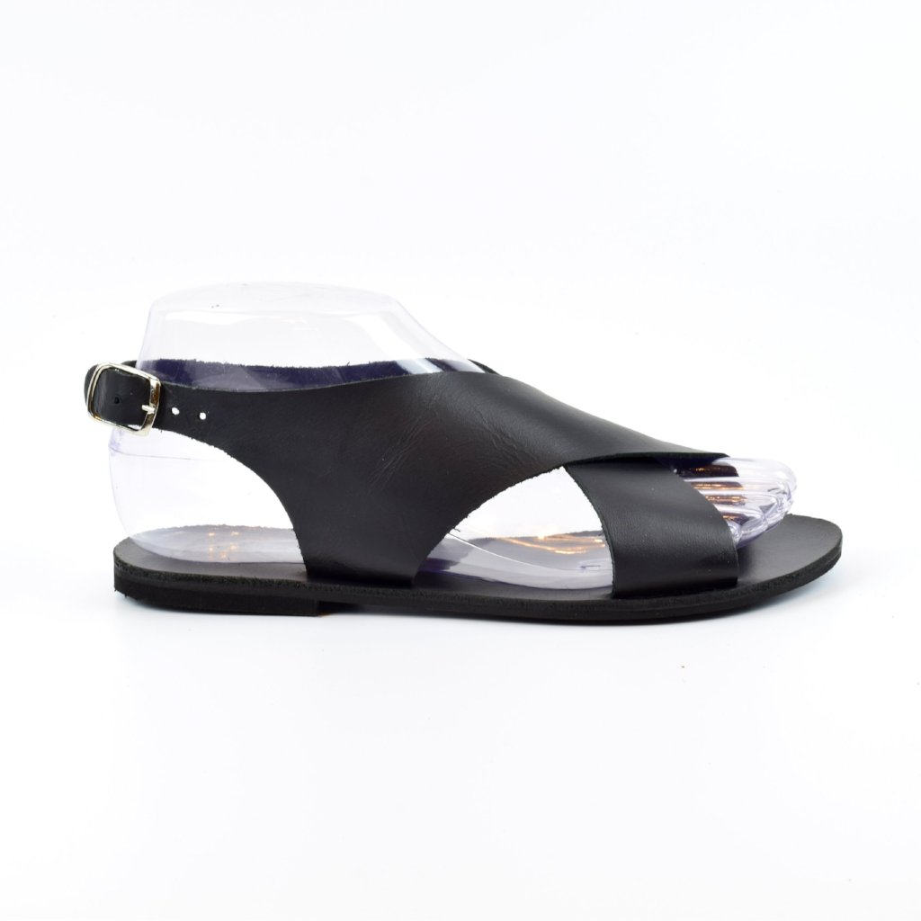 3418285cdef Slingback Classic Style Leather Sandals. Flat X type with metal ...