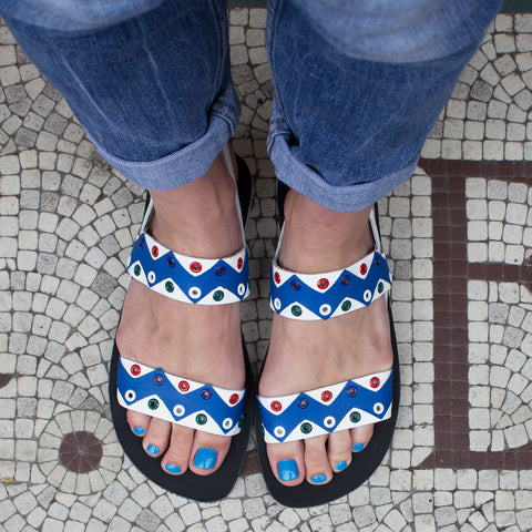 iFele Blue and White Leather Sandals