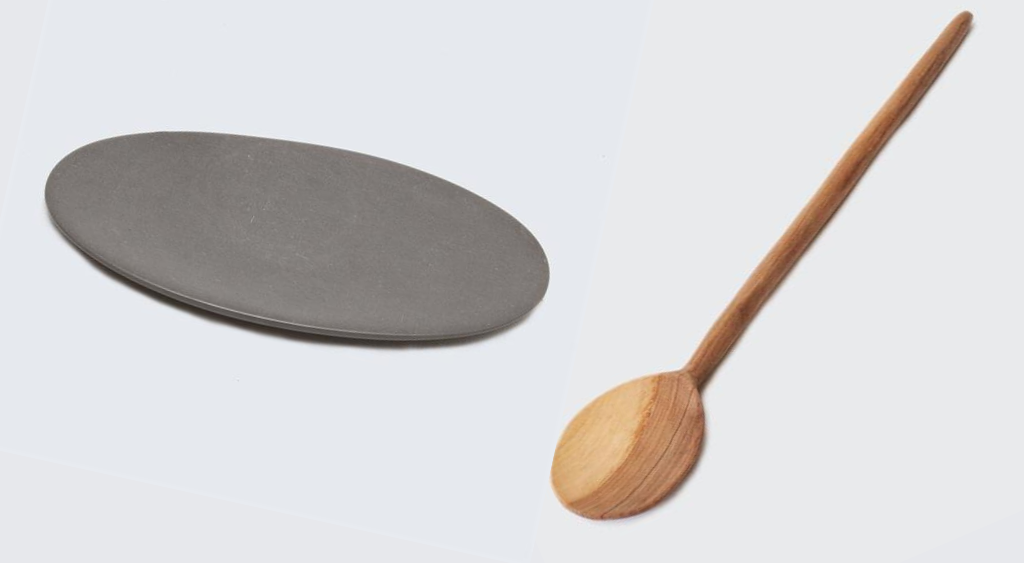 Soapstone oval and wooden mixing spoon