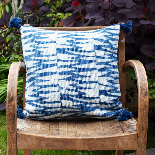 Artisans & Adventurers indigo cushion in 'Tiger Stripe' print