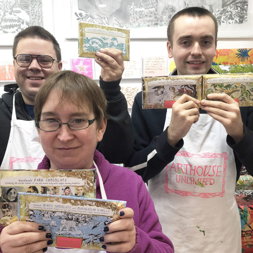 ARTHOUSE Artists with their chocolate bars