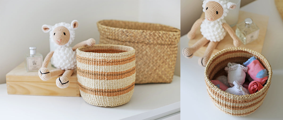 Hand woven African storage baskets for children's room