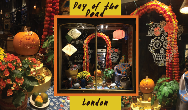 day of the dead shop window at artisans and adventurers on columbia road flower market