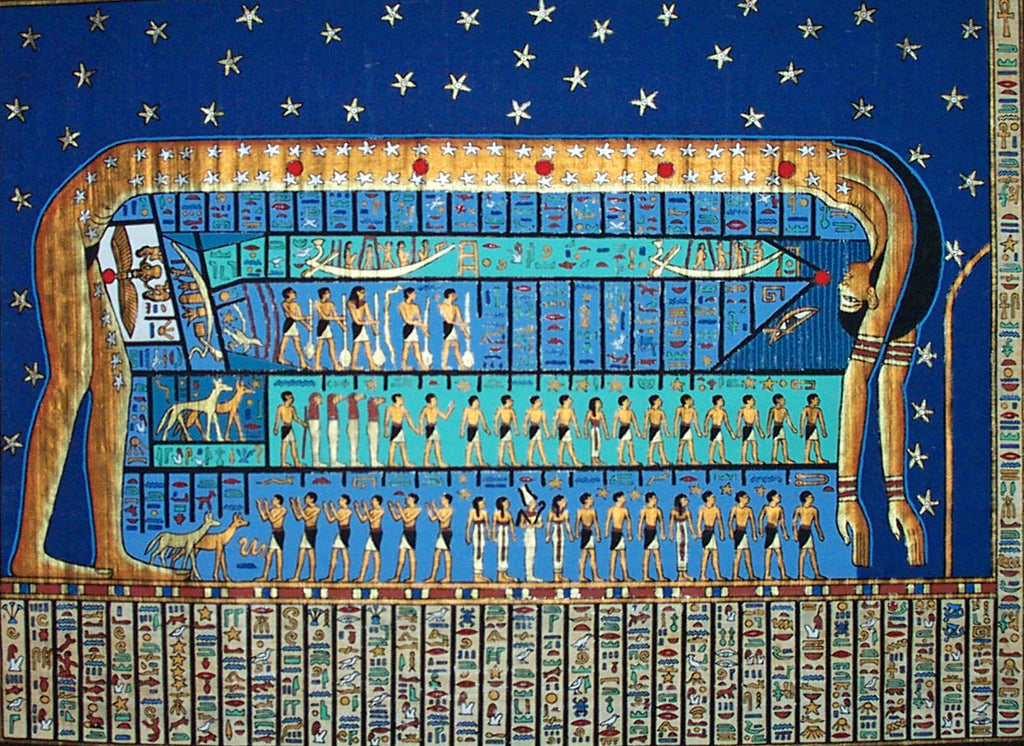 Ancient Egyptian goddess Nuit in a blue mural