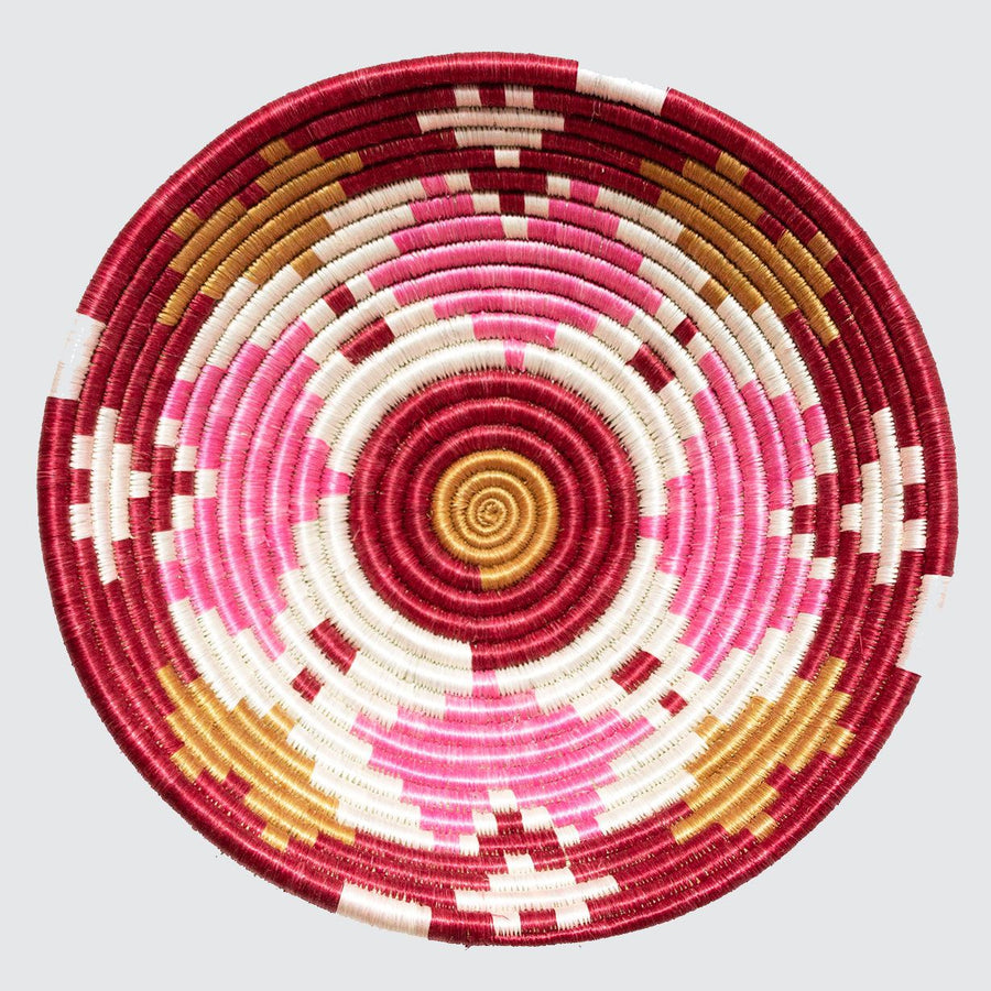 pink, red and gold heart wall decoration - fair-trade, colourful, sustainable basket bowl
