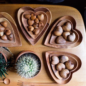 Olive Wood Heart Trays