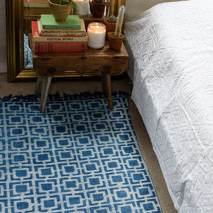 Indian Indigo standard sized 3 by 5 feet long block printed, handwoven naturally plant dyed rug 'Squares' - 3 by 5 feet