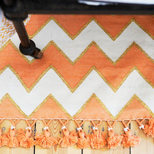 Indian Hand Woven Zig Zag Rugs 'Peach'