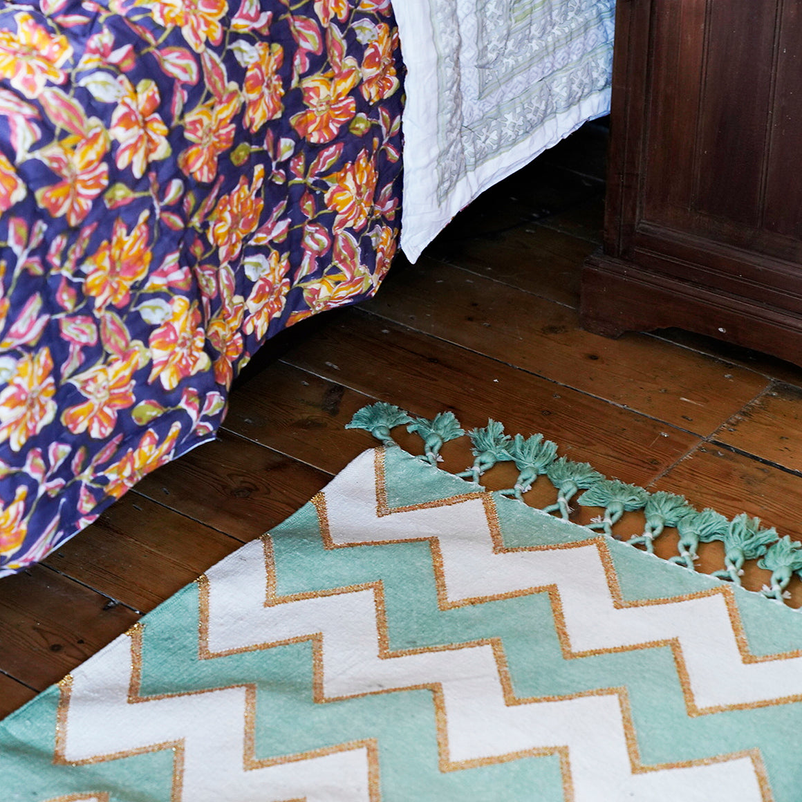 Indian Hand Woven Zig Zag Rugs 'Mint'