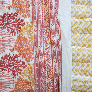 Indian Kantha Single Sized Quilt 'Coral Reef'