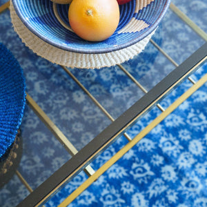 bohemian indigo blue and white natural rug 'Eyes' by fair-trade, sustainable brand Artisans and Adventurers London