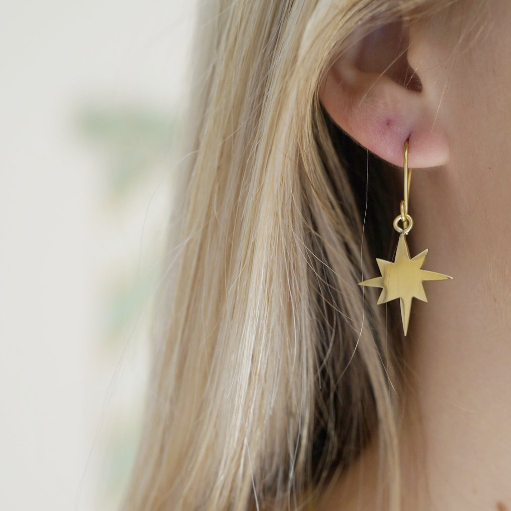 Star and Crescent Hook Earrings by A & A London